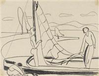 ohne titel (familie am segelboot) hoch- und querformat (1930) by max ackermann