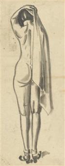 weiblicher rückenakt mit tuch by max ackermann
