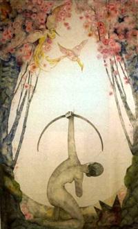 Rückenansicht einer unbekleideten, knieenden , 1925