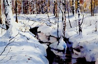 snowy riverbank by virginia fouche bolton