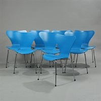 seven chair (model 3107) (set of 8) by arne jacobsen