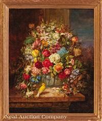 still life with flowers, bird and butterflies by hans zatzka