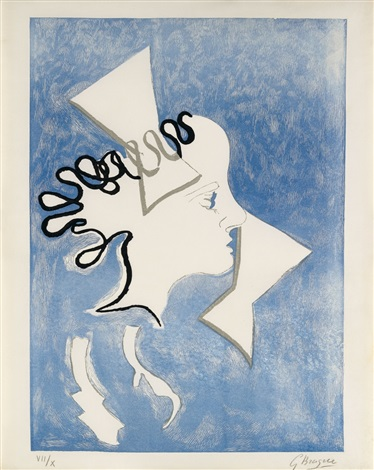 profil de femme from the series of 18 colour woodcuts for the book si je mourais là bas by guillaume apollinaire by georges braque
