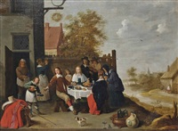 elegant company merry making outside an inn by david teniers the younger