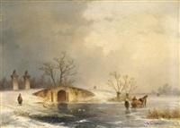 wintertag auf dem eis by johannes franciscus hoppenbrouwers
