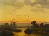 abendstimmung am kanal by johannes franciscus hoppenbrouwers