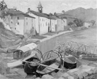 ortschaft mit vertäuten booten am genfersee by anny lierow