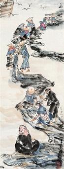惠安女 立轴 设色纸本 by huang zhou