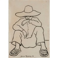 seated man by diego rivera