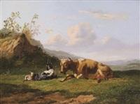 paysage accidenté avec vache couchée et chêvres by johannes hubertus leonardus de haas