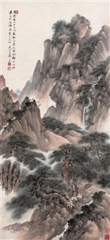 百叠云山百丈泉 (green landscape) by qi dakui