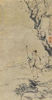 拄杖闲行图 by zhang feng