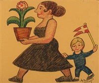 mother and child with flower and flag by henry heerup