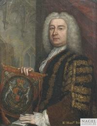 portrait des britischen premierministers henry pelham (1694-1754) als halbfigur vor architekturkulisse. by anonymous-british (18)