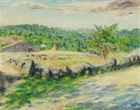 landscape from portugal with working farmers by sigurd swane