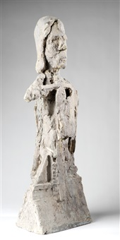 depicting an expressionistic half-fleshed figure on an architecturally stylized base by jean-pierre larocque