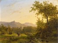 sommerliche gebirgslandschaft mit wanderern by johann bernard klombeck