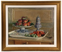 still life with fruit compote & muffineer by maurice lobre