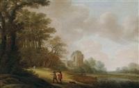 ein wanderer auf einem waldweg vor einer kirchenruine by pieter jansz van asch
