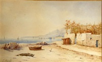 continental coastal scene with boats by e. bouché