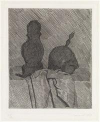 natura morta con due oggetti e un drappo su un tavalo by giorgio morandi