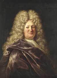 portrait of a gentleman, half-length, in a burgundy mantle by hyacinthe rigaud
