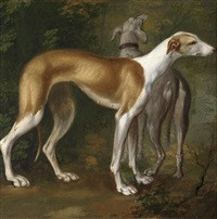zwei windhunde by jan le ducq
