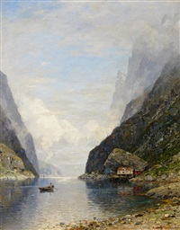 fischer in seinem ruderboot auf dem fjord by georg anton rasmussen