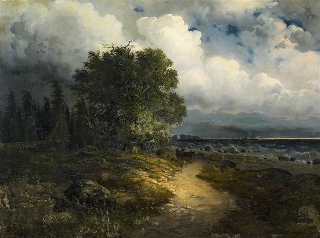 uferlandschaft am genfersee vom nordufer aus gesehen bei aufziehendem gewitter by alexandre calame