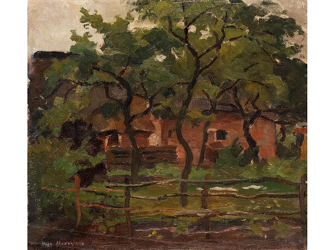 bauerngehöft unter bäumen hinter einem weidezaun farm building in het gooi fence and trees in the foreground by piet mondrian