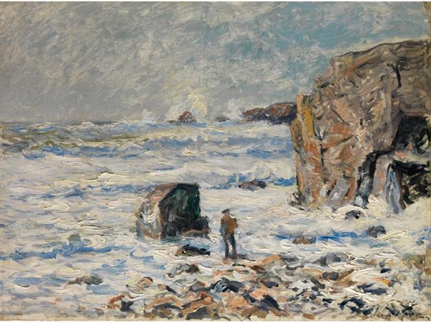 einsamer mann an bretonischer küste by maxime maufra