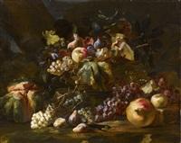 ein korb mit trauben, äpfeln, feigen, birnen und laub gefüllt, melone, granatapfel und eine smaragdeidechse by abraham brueghel