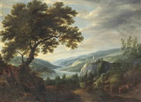 a wooded river landscape with travellers on a path, villages beyond (23 works) by lucas van uden