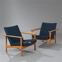 easy chairs (pair) by ejnar larsen and aksel bender madsen