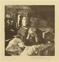 not, pl. 1 (from ein weberaufstand) by käthe kollwitz