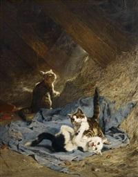spielende kätzchen auf dem heuboden by julius adam (unattributable)
