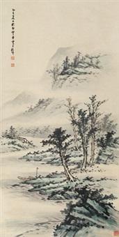 溪山小棹 立轴 纸本 by huang junbi