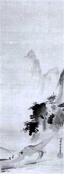 landschaft im haboku-stil mit tempelanlage auf einem bergvorsprung by kano yasunobu