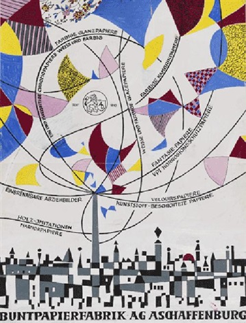 plakatentwürfe für die buntpapierfabrik ag aschaffenburg (2 works) by horst janssen