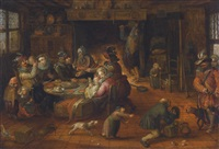 tavern interior with men and women eating and drinking whilst children and animals play and a man begs alms by david vinckboons