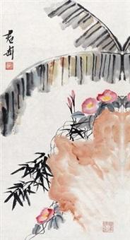 牵牛花 镜片 设色纸本 by qian juntao