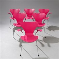 seven chair (model 3207) (set of 6 armchairs) by arne jacobsen