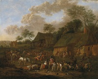 plündernde soldaten in einem dorf by jan-peter van bredael the younger
