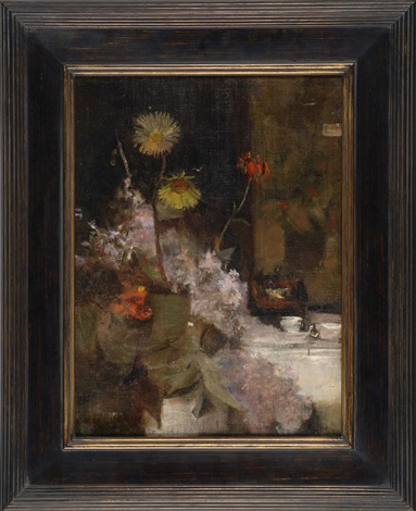 still life of daisies and liliacs by william merritt chase