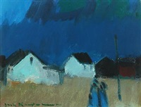 evening scenery with figures and houses by the sea by jack kampmann