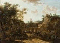 landscape with a stone bridge by frederick de moucheron