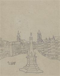 recto: marienplatz münchen; verso: stadtansicht by emerik fejes