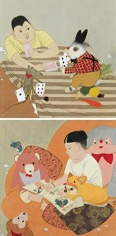 朋友一、二 (friends) (2 works) by wang yuefu