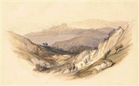 camels on the road near the ruins of semua in the holy land by david roberts