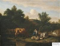 abendliches hirtenidyll by adriaen van de velde